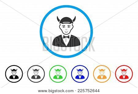 Devil Rounded Icon. Style Is A Flat Devil Gray Symbol Inside Light Blue Circle With Black, Gray, Gre