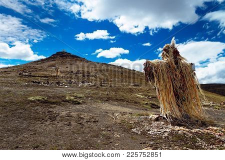 The Decorated Cross And The Hill Above Abra Oquepuño (4 873 M), The High Andean Mountain Pass From P