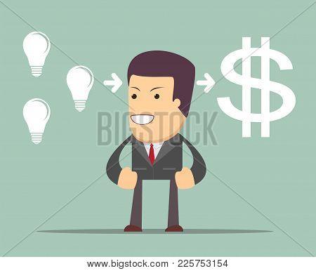 Man Making Money. Stock Flat Vector Illustration.