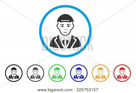 Gentleman Rounded Icon. Style Is A Flat Gentleman Gray Symbol Inside Light Blue Circle With Black, G