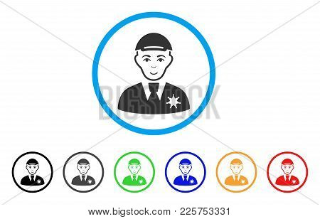 Police Sheriff Rounded Icon. Style Is A Flat Police Sheriff Grey Symbol Inside Light Blue Circle Wit