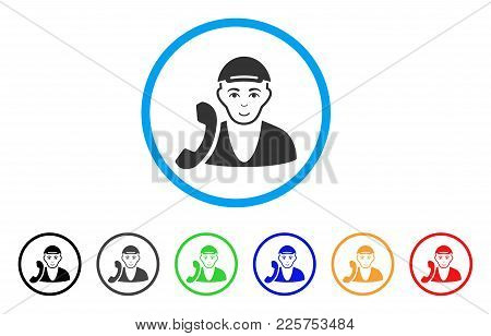 Receptionist Guy Rounded Icon. Style Is A Flat Receptionist Guy Gray Symbol Inside Light Blue Circle