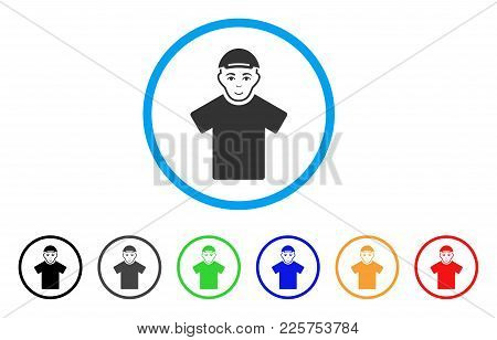 Guy Rounded Icon. Style Is A Flat Guy Grey Symbol Inside Light Blue Circle With Black, Gray, Green,