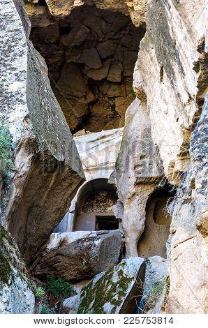 Ihlara Valley With Rock Caves Blocked By Stones Central Anatolia. Capadocia, Turkey