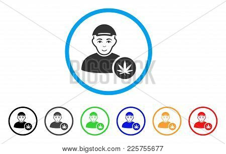 Marihuana Dealer Rounded Icon. Style Is A Flat Marihuana Dealer Grey Symbol Inside Light Blue Circle