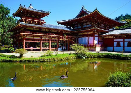 January 29, 2018 At Kaneohe, Hi:  Byodo In Temple Which Is A Buddhist Temple Surrounded By A Pond Wi