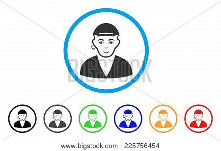 Gay Dude Rounded Icon. Style Is A Flat Gay Dude Grey Symbol Inside Light Blue Circle With Black, Gra