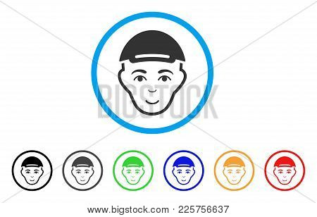 Man Head Rounded Icon. Style Is A Flat Man Head Grey Symbol Inside Light Blue Circle With Black, Gra