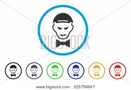 Vampire Head Rounded Icon. Style Is A Flat Vampire Head Grey Symbol Inside Light Blue Circle With Bl