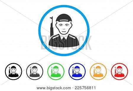 Asian Soldier Rounded Icon. Style Is A Flat Asian Soldier Gray Symbol Inside Light Blue Circle With