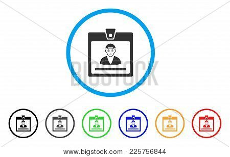 Guy Access Card Rounded Icon. Style Is A Flat Guy Access Card Gray Symbol Inside Light Blue Circle W