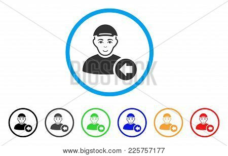 Previous Man Rounded Icon. Style Is A Flat Previous Man Grey Symbol Inside Light Blue Circle With Bl