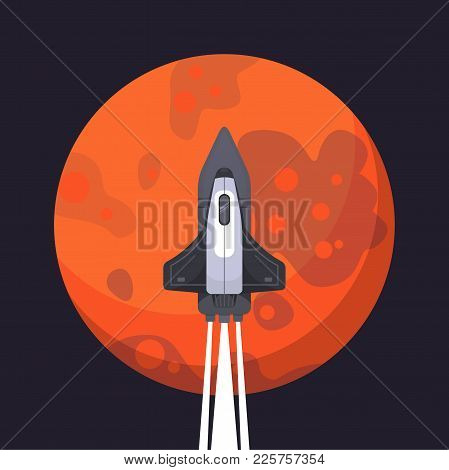 Rocket Ship And Mars In Cartoon Style. New Businesses Innovation Development Flat Design Iconstempla