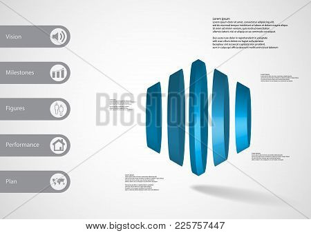 3d Illustration Infographic Template With Motif Of Round Cone Vertically Divided To Five Blue Parts