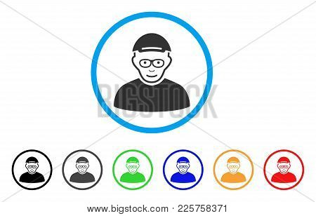 Pensioner Rounded Icon. Style Is A Flat Pensioner Gray Symbol Inside Light Blue Circle With Black, G