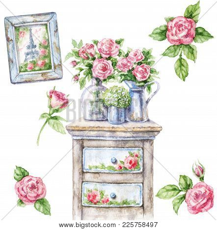 Watercolor Painting.  Hand Drawn Shabby Chic Furniture, Romantic Picture And Roses.  Vintage Decor I
