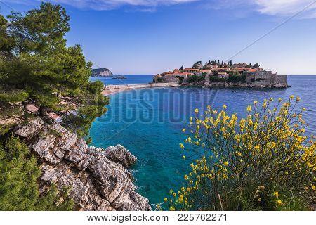Sveti Stefan Island On So Called Budva Riviera On The Adriatic Sea In Montenegro