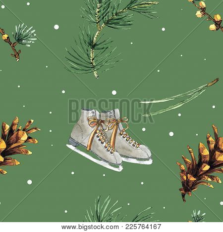 Green Watercolor Seamless Pattern With Pine Branches, Cones, Needles And Ice Skate Shoes. Looks Perf
