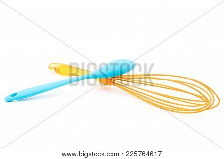 Whisk For Beating Eggs And Spoon. Isolated On White Background For Any Purpose