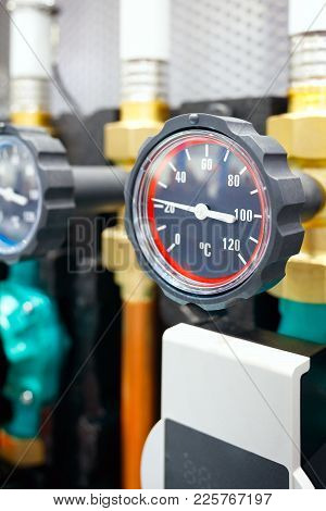 The Equipment Of The Boiler-house, - Valves, Tubes, Pressure Gauges, Thermometer