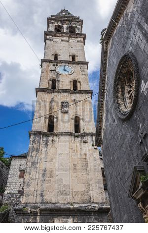 St Nicholas Church Tower In Perast, Old Town On The Kotor Bay Coast, Montenegro