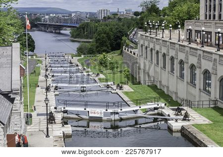 Ottawa, Ontario / Canada - June 29, 2010: These Locks In Ottawa Are Part Of The Rideau Canal Which I