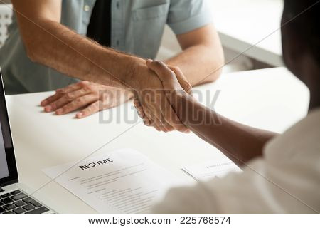 Employment Handshake Or Making Good First Impression At Successful Interview Concept, African Employ