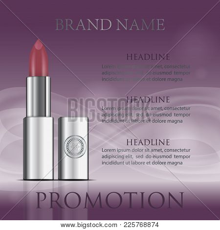 Red Realistic Lipstick Tube Mockup. Fashion Cosmetic Purple Ads. Brand Hydrating, Glossy, Facial, Go