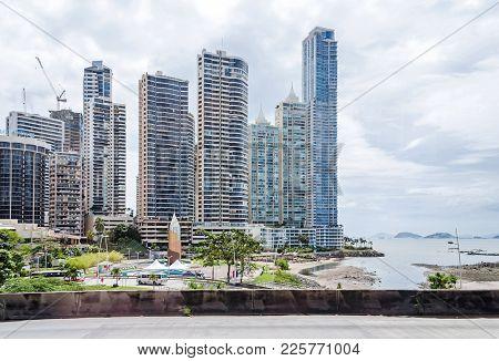 Panama City, Panama - November 3, 2017: Construction Boom In Panama City. Punta Paitilla, Hotel Plaz
