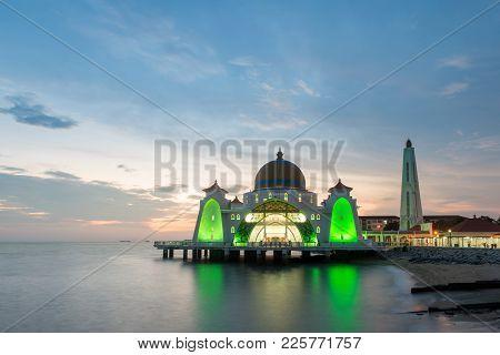 Malacca Islam Mosque Is Beutiful Islam Mosque In Malacca, Malaysia.