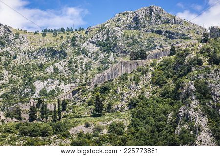 Ancient Walls On St John Hill In Kotor Town, Montenegro