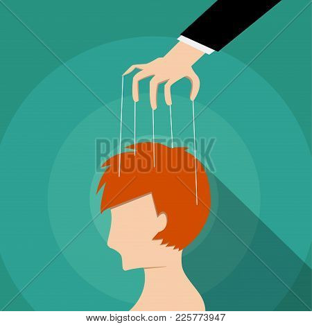 Businessman Control Man's Mind, Vector Design