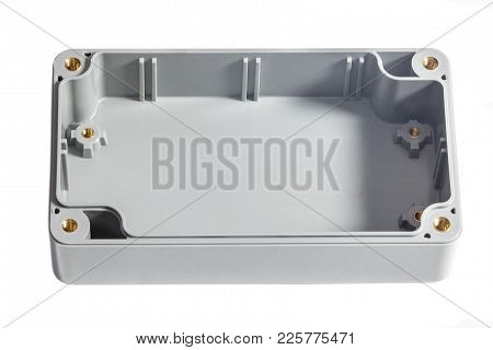 Open Waterproof Plastic Junction Box Isolated On White. With Place For Text
