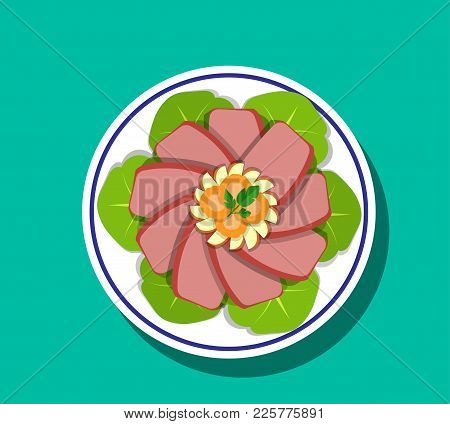 Sliced Corn Beef And Cabbage On Plate, Top View, Vector