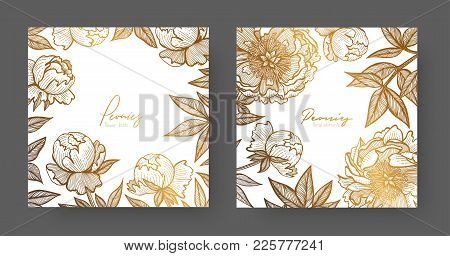Gold Cards Templates For Wedding Stationery, With Vintage Style, Or For Many Other Design Projects I