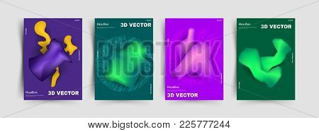 Liquid Color Covers Set, Liquid Colorful Shapes. Elegant Design For Cover And Abstract Background. V
