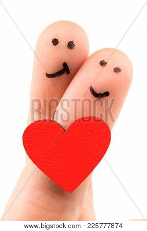 Painted Happy Fingers Smiley In Love Valentine's Day Theme