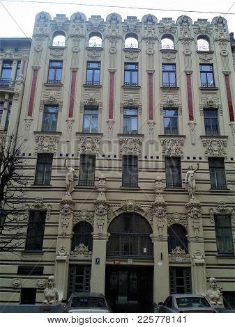 Extra Ordinary Facade Of An Art Nouveau Building In Riga, Latvia