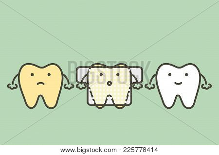 Yellow Tooth Used Teeth Whitening Strip - Dental Cartoon Vector Flat Style Cute Character For Design