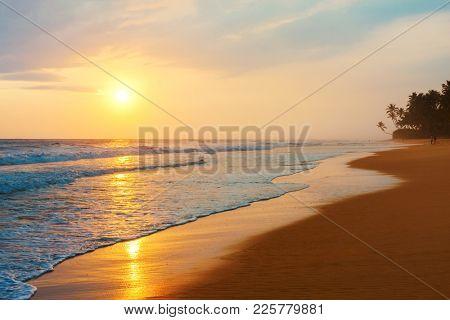 Sunset on the beautiful beach of the Indian Ocean. Sri Lanka