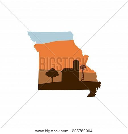 Missouri State Shape With Farm At Sunset W Windmill, Barn, And A Tree