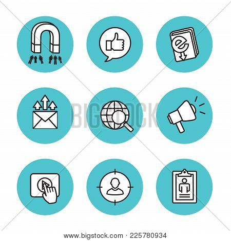 Inbound Marketing Icon Set W Magnet, Social, Email, And Promotion