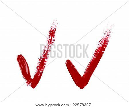 Yes Tick Mark Sign Made With A Paint Stroke Isolated Over The White Background, Set Of Two Different