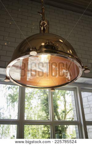 Elegant Copper Hanging Light Lamp, Stock Photo