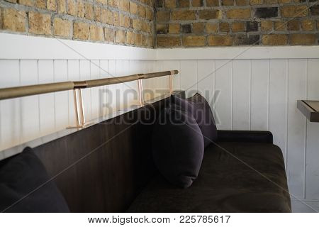 Vintage Velvet Long Sofa In Lobby, Stock Photo