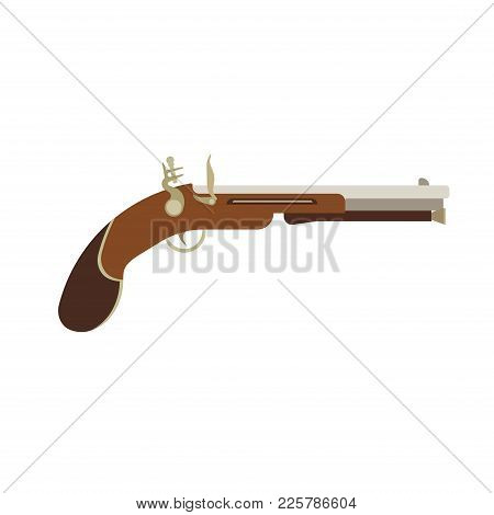 Flintlock Pistol Gun Old Illustration Weapon Vintage Vector. Antique Musket War Pirate Background. D