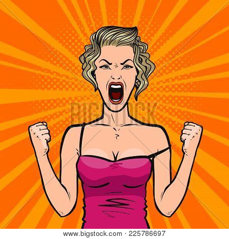 Girl Screams Loudly Or Young Woman In Rage. Pop Art Retro Comic Style. Cartoon Vector