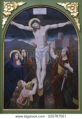 STITAR, CROATIA - NOVEMBER 11: 12th Stations of the Cross, Jesus dies on the cross, church of Saint Matthew in Stitar, Croatia on November 11, 2016.