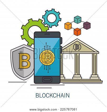 Blockchain Business Set Icons Vector Illustration Design