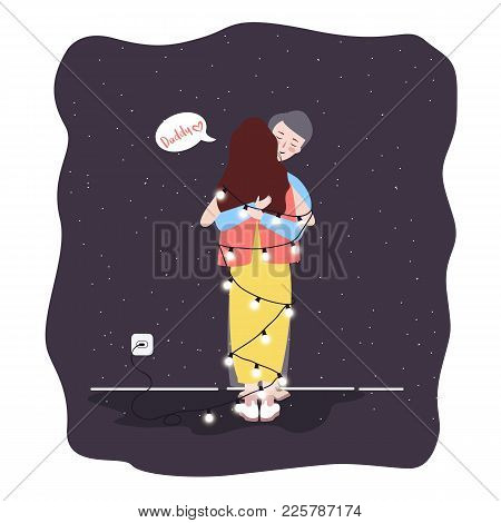 Sad Daughter Hugging His Dad Father Parent Lost Light Bulb At Night Vector